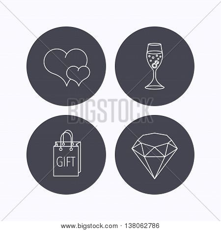 Love heart, gift box and wedding ring icons. Brilliant and engagement linear signs. Flat icons in circle buttons on white background. Vector
