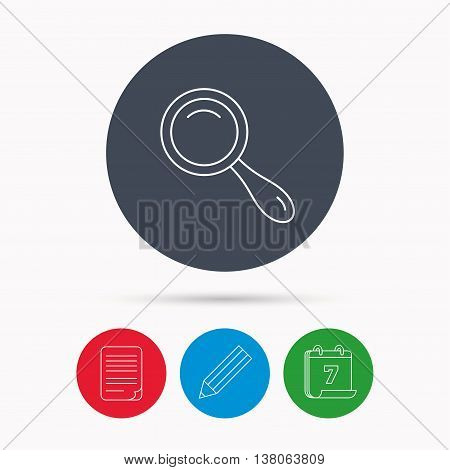 Search icon. Magnifying glass sign. Zoom symbol. Calendar, pencil or edit and document file signs. Vector