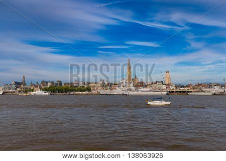 Cityline of Antwerp riverside Schelde seen during The Tall Ships Race 2016 event