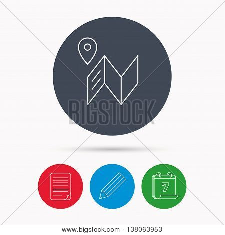 Map icon. GPS navigation with pin sign. Calendar, pencil or edit and document file signs. Vector