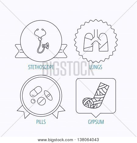 Broken foot, lungs and medical pills icons. Stethoscope linear sign. Award medal, star label and speech bubble designs. Vector