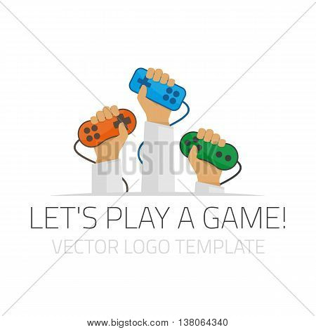 Vector illustration of a game joystick in hand. Logo template for the gaming community. Players keep their gaming joysticks in their hands.