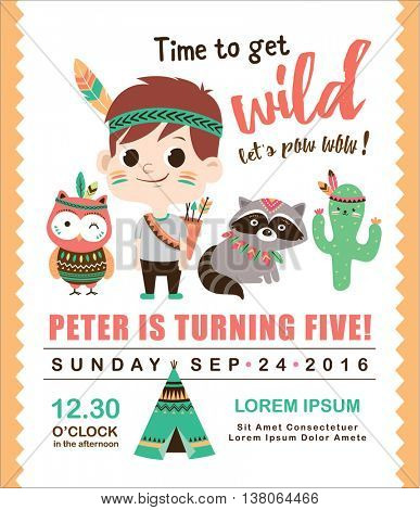Kids birthday invitation card with cute little boy and friends