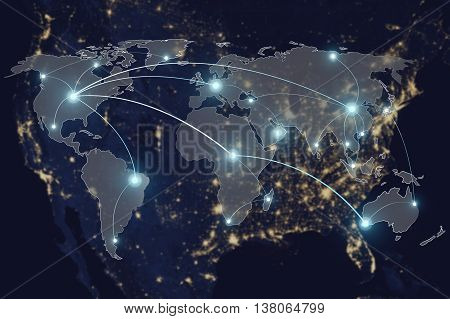 Network connection technology concept - Network connection partnership and world map. Elements of this image furnished by NASA
