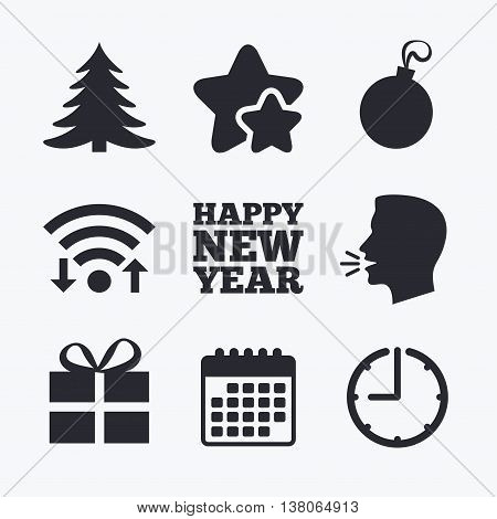 Happy new year icon. Christmas tree and gift box sign symbols. Wifi internet, favorite stars, calendar and clock. Talking head. Vector