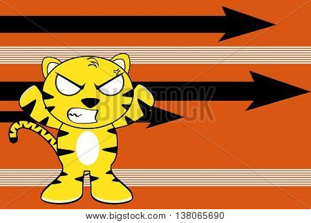 angry young tiger plush cartoon background in vector format very easy to edit