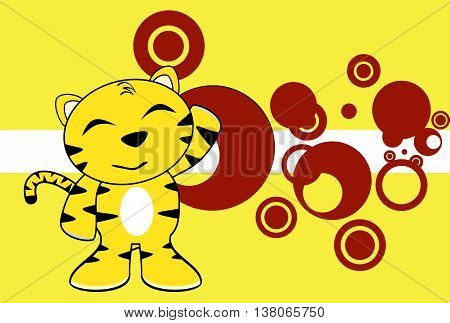 happy young tiger plush cartoon background in vector format very easy to edit