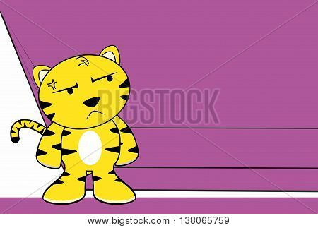 grumpy young tiger plush cartoon background in vector format very easy to edit