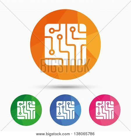 Circuit board sign icon. Technology scheme square symbol. Triangular low poly button with flat icon. Vector