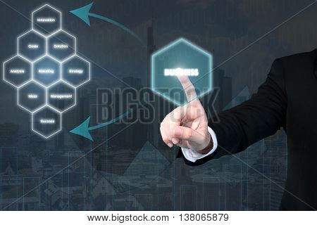 Business man pressing business type of modern buttons with virtual use for business concept