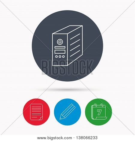 Computer server icon. PC case or tower sign. Calendar, pencil or edit and document file signs. Vector