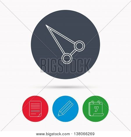 Pean forceps icon. Medical surgery tool sign. Calendar, pencil or edit and document file signs. Vector