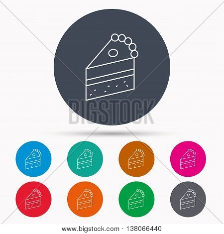 Piece of cake icon. Sweet dessert sign. Pastry food symbol. Icons in colour circle buttons. Vector