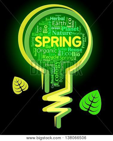 Spring Lightbulb Represents Outdoors Green And Springtime