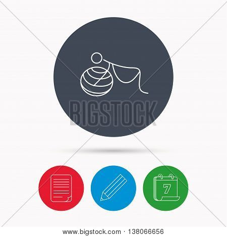 Gymnastic for pregnant icon. Pilates fitness sign. Sport workout symbol. Calendar, pencil or edit and document file signs. Vector