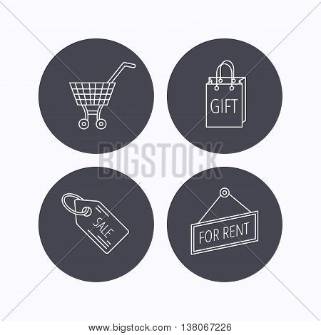 Shopping cart, gift bag and sale coupon icons. For rent label linear sign. Flat icons in circle buttons on white background. Vector