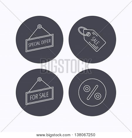Special offer, discounts and sale coupon icons. For sale linear sign. Flat icons in circle buttons on white background. Vector