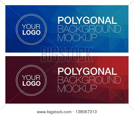 Horizontal colorful vibrant blue and red modern polygonal banner mock ups