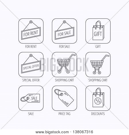Shopping cart, gift bag and sale coupon icons. Special offer label linear signs. Discount icon. Flat linear icons in squares on white background. Vector
