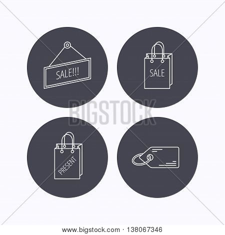 Sale, present bag and price tag icons. Special offer linear signs. Flat icons in circle buttons on white background. Vector