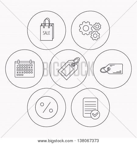 Price tag, sale bag and coupon icons. Discounts linear sign. Check file, calendar and cogwheel icons. Vector