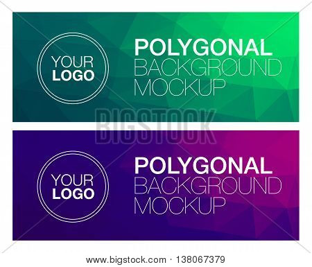 Horizontal colorful vibrant green and purple modern polygonal banner mock ups