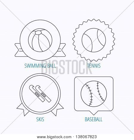 Swimming ball, tennis and baseball icons. Skis linear sign. Award medal, star label and speech bubble designs. Vector