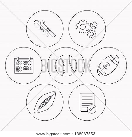 Sport fitness, rugby ball and baseball icons. American footbal, skis linear signs. Check file, calendar and cogwheel icons. Vector