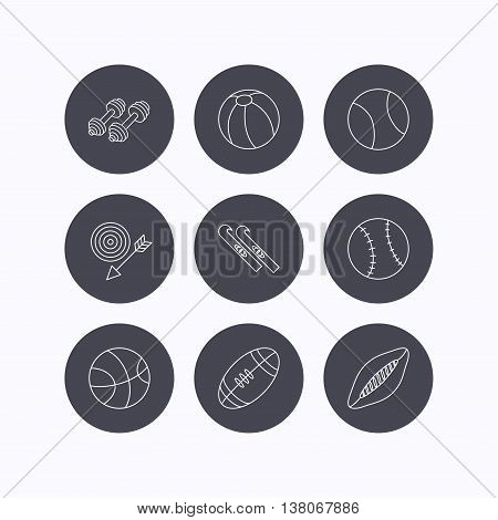 Sport fitness, tennis and basketball icons. Baseball, skis and American footbal signs. Rugby, swimming or pilates ball icons. Flat icons in circle buttons on white background. Vector