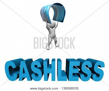Cashless Credit Card Indicates Purchase Prepaid And Prepay 3D Rendering