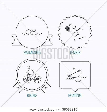 Swimming, tennis and biking icons. Boating linear sign. Award medal, star label and speech bubble designs. Vector