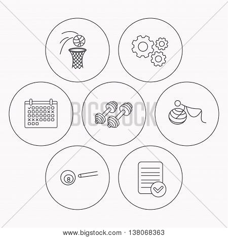 Billiards, basketball and fitness sport icons. Gymnastics for pregnant linear sign. Check file, calendar and cogwheel icons. Vector