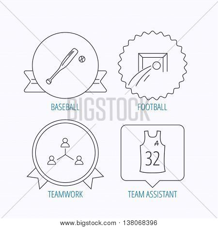 Football, team assistant and baseball icons. Teamwork linear sign. Award medal, star label and speech bubble designs. Vector