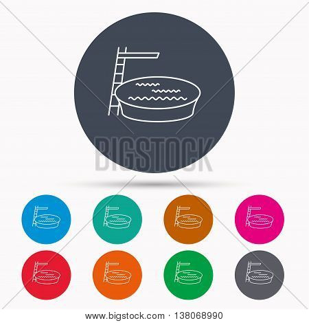 Swimming pool icon. Jumping into water sign. Icons in colour circle buttons. Vector