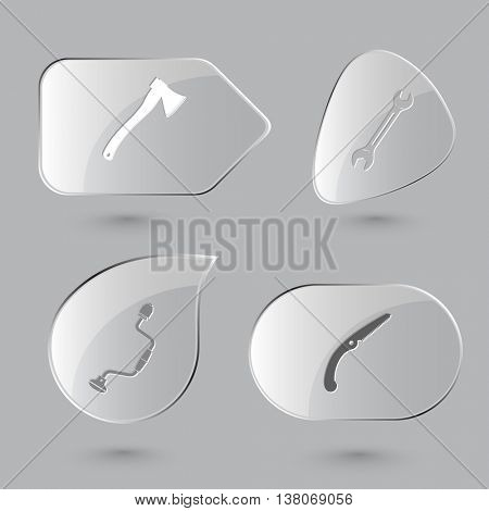 4 images: axe, spanner, hand drill, saw. Angularly set. Glass buttons on gray background. Vector icons.