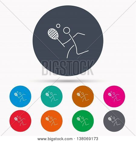 Tennis icon. Racket with ball sign. Professional sport symbol. Icons in colour circle buttons. Vector