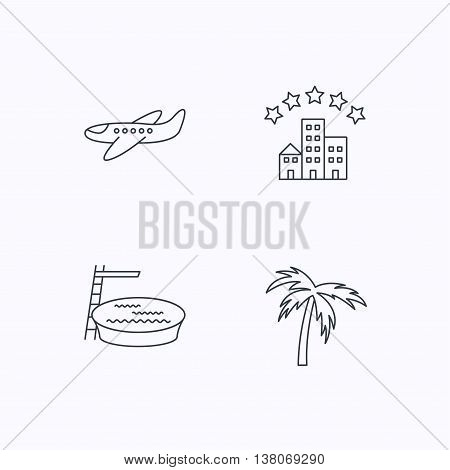 Swimming pool, airplane and palm tree icons. Hotel linear sign. Flat linear icons on white background. Vector