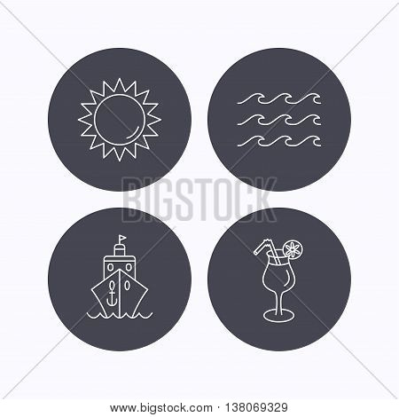 Cruise, waves and cocktail icons. Sun linear sign. Flat icons in circle buttons on white background. Vector