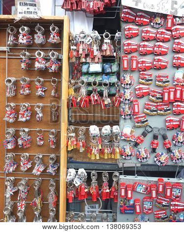 Group of London themed tourist gifts on outdoor display in Covent Garden, London