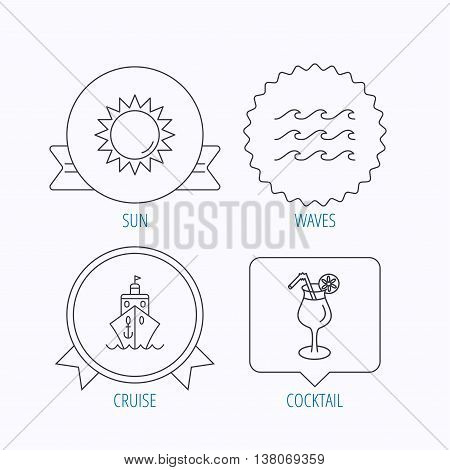 Cruise, waves and cocktail icons. Sun linear sign. Award medal, star label and speech bubble designs. Vector