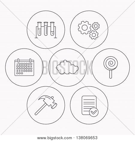 Hammer, lab bulbs and weather cloud icons. Lolly pop linear sign. Check file, calendar and cogwheel icons. Vector