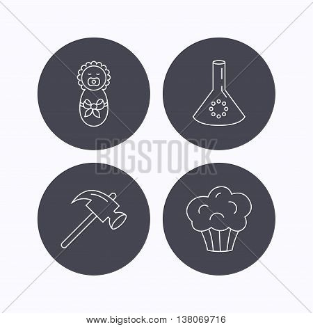 Newborn, muffin and lab bulb icons. Hammer linear sign. Flat icons in circle buttons on white background. Vector