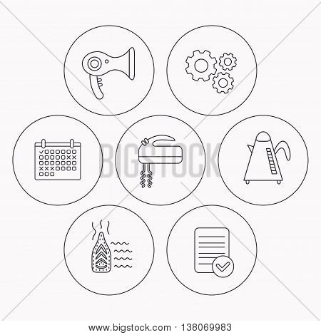 Steam ironing, kettle and blender icons. Hairdryer linear sign. Check file, calendar and cogwheel icons. Vector
