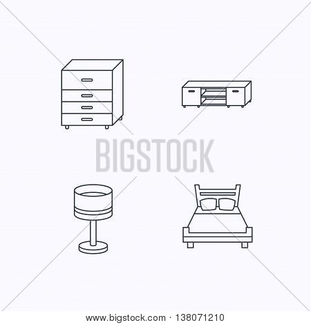 Double bed, table lamp and TV table icons. Chest of drawers linear sign. Flat linear icons on white background. Vector