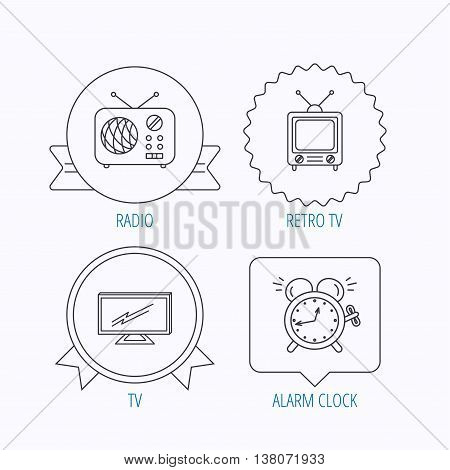 TV, retro radio and alarm clock icons. Widescreen TV linear sign. Award medal, star label and speech bubble designs. Vector