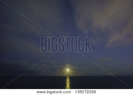 Beautiful landscape around Vicente Lighthouse at night California