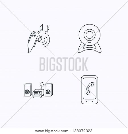 Smartphone, web camera and headphones icons. Music center linear sign. Flat linear icons on white background. Vector
