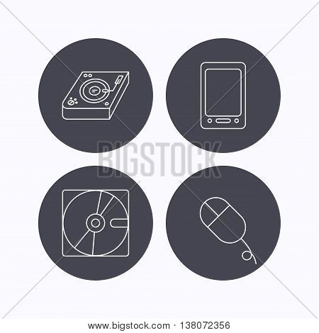 Tablet PC, Hard disk and pc mouse icons. Club music linear sign. Flat icons in circle buttons on white background. Vector