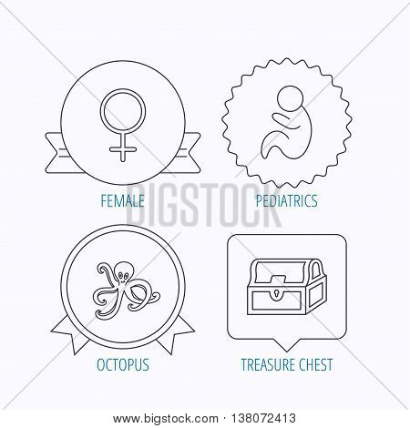 Female, treasure chest and pediatrics icons. Octopus linear sign. Award medal, star label and speech bubble designs. Vector