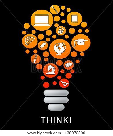 Think Lightbulb Represents Power Source And Bright